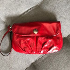 Coach red patent leather wristlet
